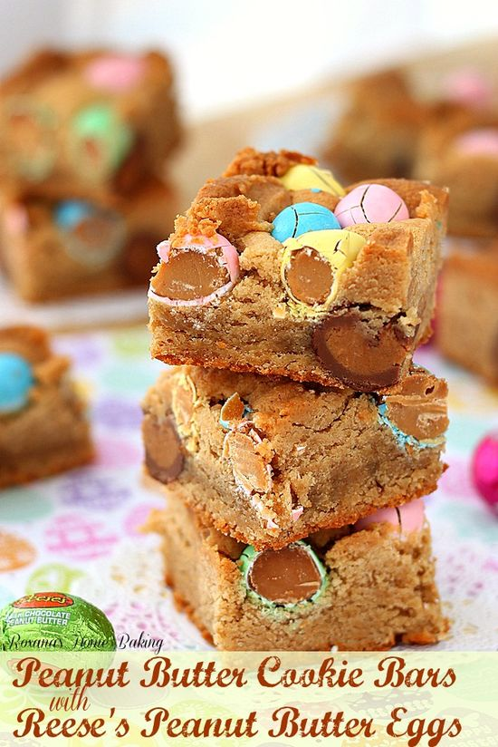 Peanut butter cookie bars with Reese's peanut butter eggs from Roxanashomebaking... Just like a melt-in-you-mouth peanut butter cookie with an extra peanut butter touch