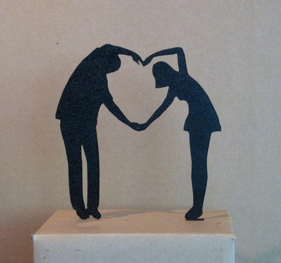 Wedding Cake Topper  Heart Cake Topper by Plasticsmith on Etsy, $26.00