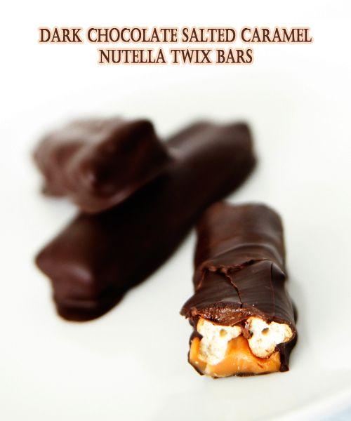 Homemade Dark Chocolate Salted Caramel Nutella Twix Bars - Oh my heavens!!!