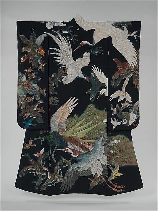 Kimono with Birds in Flight, 1942. Shôwa period (1926–89). Japan. The Metropolitan Museum of Art, New York. Gift of Harumi Takanashi and Akemi Ota, in memory of their mother, Yoshiko Hiroumi Shima, 2007 (2007.44.1) #peacock