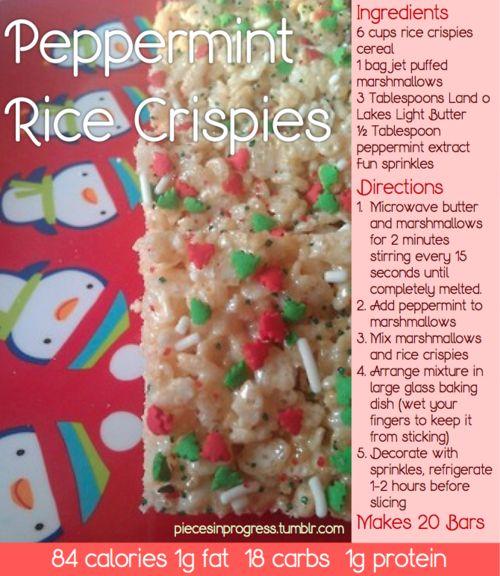 Peppermint Rice Krispie treat