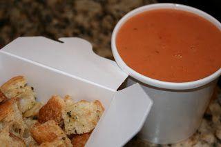 La Madeline Tomato Basil Soup and Croutons