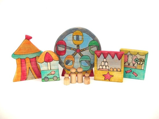 Wooden carnival playset