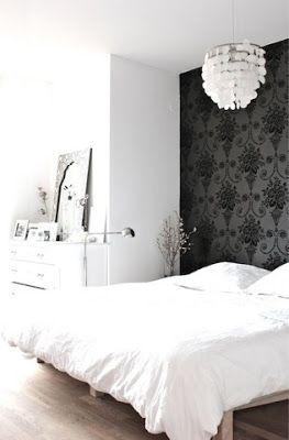 wallpaper behind bed