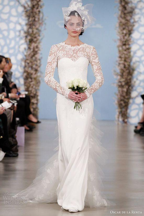 oscar de la renta 2014 bridal long sleeve wedding dress