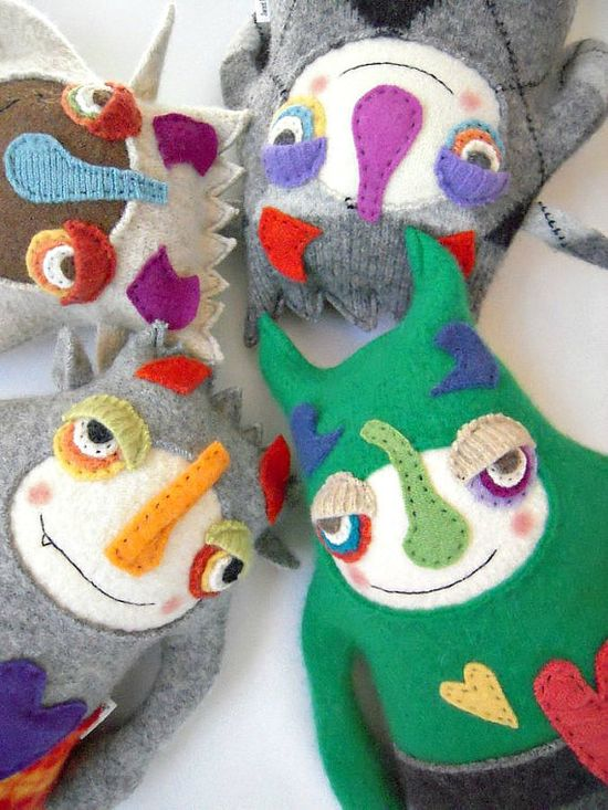 Stuffed Animal Monster Upcycled Wool Sweater by sweetpoppycat, $48.00