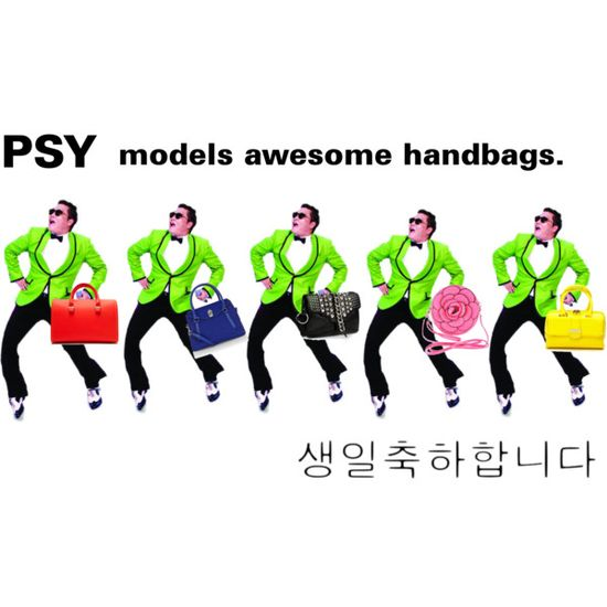 Psy models awesome handbags by bit-square, via Polyvore