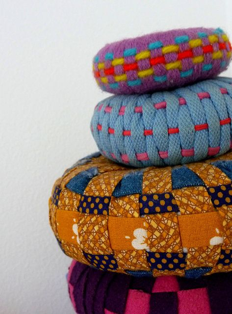 DIY Woven Fabric Poofs