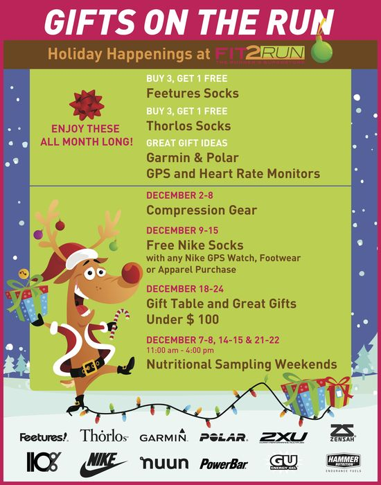 Holiday Events all month long! #Fit2Run #holidayshopping #deals