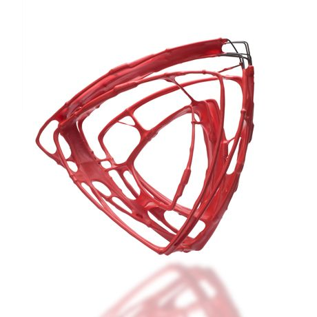 Donna D'Aquino Red wire bracelet n°14 -Steel,plasti dip- 7inch high, 7inch wide
