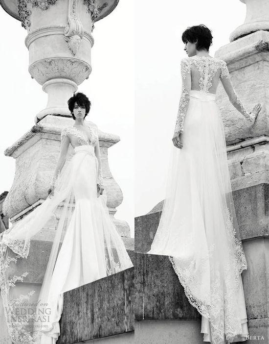 berta bridal gowns 2013 long sleeve illusion bodice wedding dress