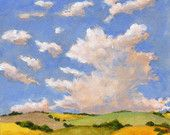 Landscape Painting Original Painting on Canvas Green and Yellow Fields Clouds and Blue Sky Hills 8x8