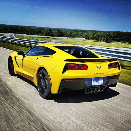 Epic yellow Corvette http://#chevrolet