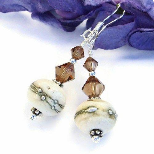 Organic #Ivory #Lampwork, #Swarovski Crystal and Sterling #Handmade #Earrings by @Shadow Dog Designs #ShadowDogDesigns #artfire #jewelry, $25.00