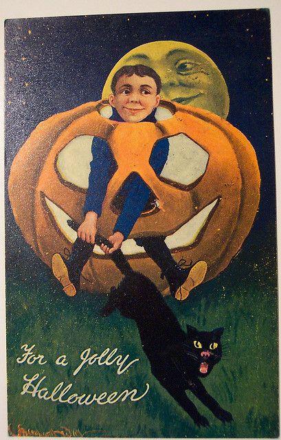 Vintage Halloween Postcard Valentine and sons    Artist Bernhardt Wall