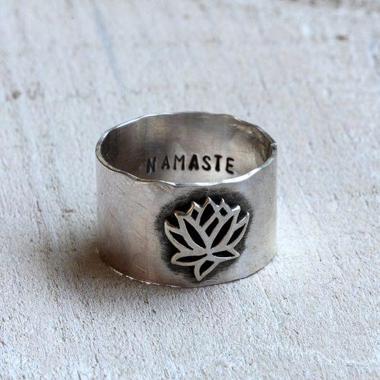 Namaste lotus ring yoga jewelry by PraxisJewelry on Etsy Praxis Jewelry