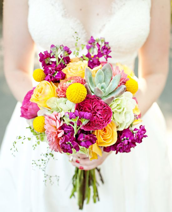 Beautiful pinks and yellows in this bridal bouquet!