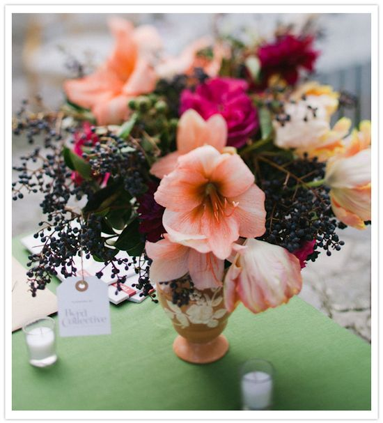 Beautiful peach and fuchsia centerpiece from The Byrd Collective.