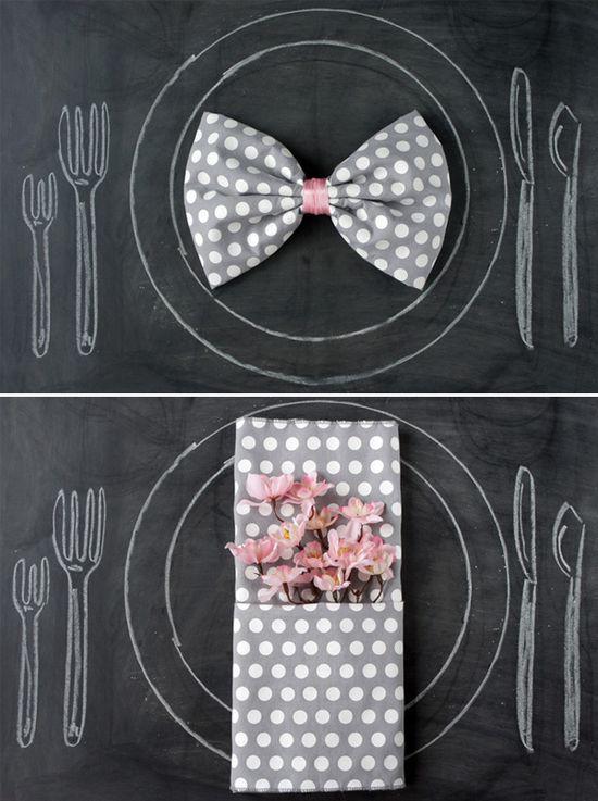 Napkin folding ideas - cute for bridal shower!
