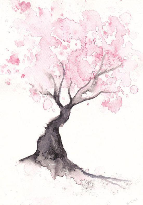 Cherry blossom tree watercolor