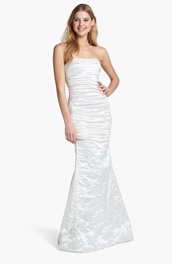 Nicole Miller 'Techno' Metallic Strapless Crinkled Trumpet Gown at the Nordstrom Wedding Suite