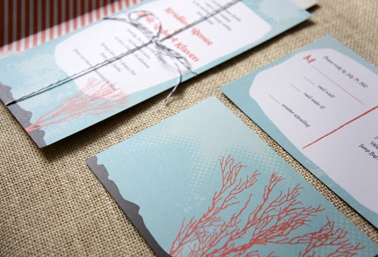 Sample Coral Reef Wedding Invitation by DawnCorrespondence on #Etsy