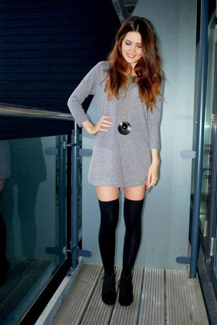 New hottest fashion inspiration for girls 2013:Grey blouse and black leggings with black shoes