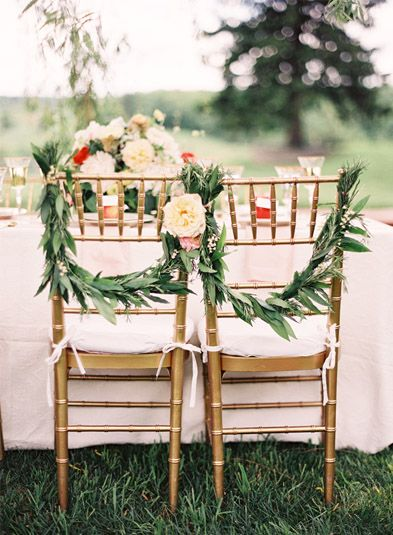 Simple rustic wedding chair decor {Photo by Jen Huang via Project Wedding}