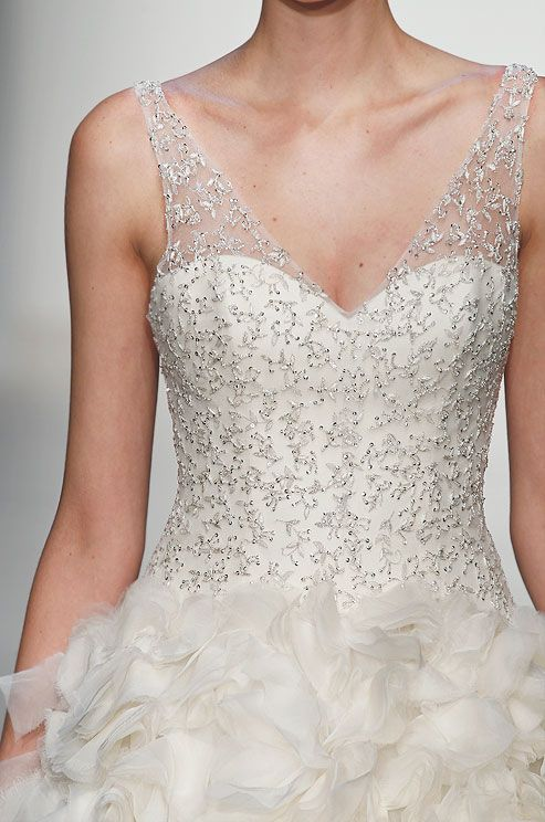 Beaded wedding dress from Kenneth Pool, Fall 2013. Click to see the full dress.