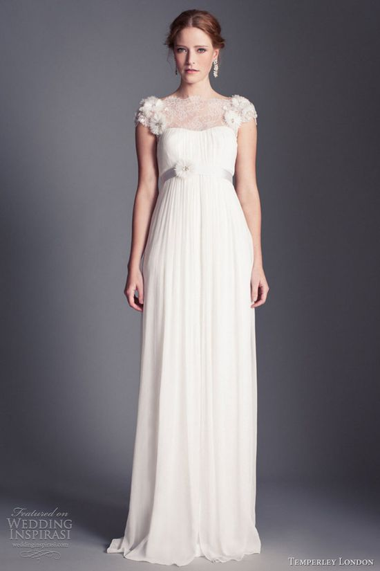 temperley london wedding dresses 2013 kaitlyn embroidered cap sleeves empire gown