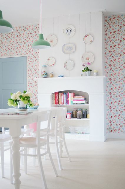 Kitchen Update by yvestown, via Flickr; white room, floral wallpaper; cath kidston