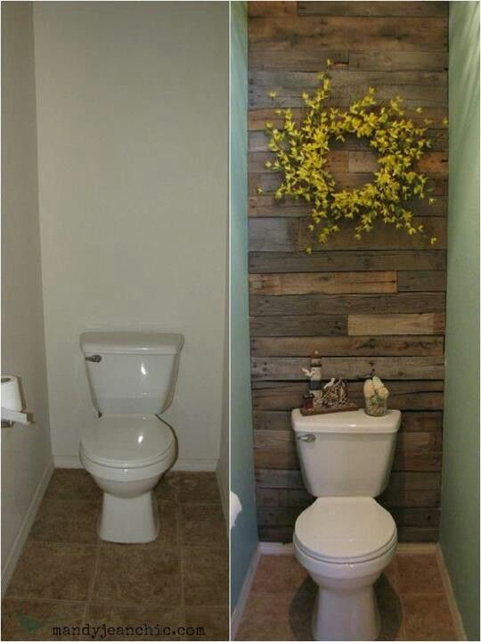 Very creative way to re-use palette wood- love to do this to our east bathroom wall @Lizz Green ...you could so do this to downstairs bathroom!!!... just be careful Justin doesn't burn it first