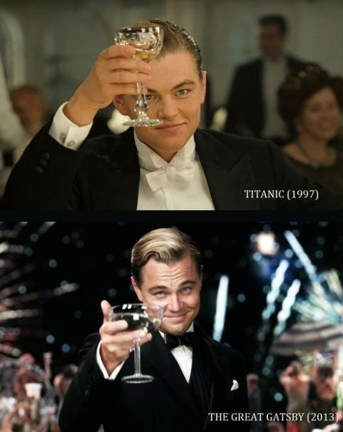 Leonardo DiCaprio, Titanic (1997), The Great Gatsby (2013) he's like a fine wine... Can't wait for Gatsby!!!
