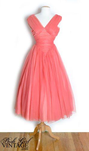 Posh Girl Vintage 1950\'s Peach Chiffon Party Dress
