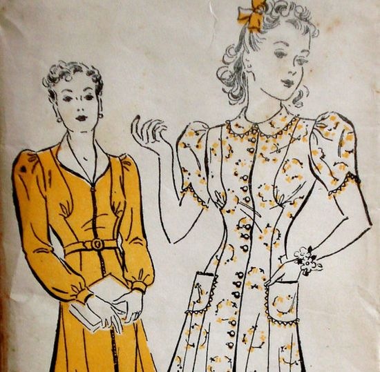 Vintage 1940s day dress pattern from New York patterns. #1940s #sewing #pattern #vintage