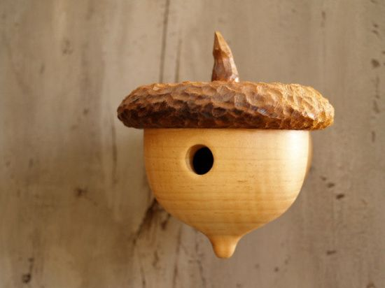 Woodland Acorn Birdhouse Sweet gift for the by CattailsWoodwork