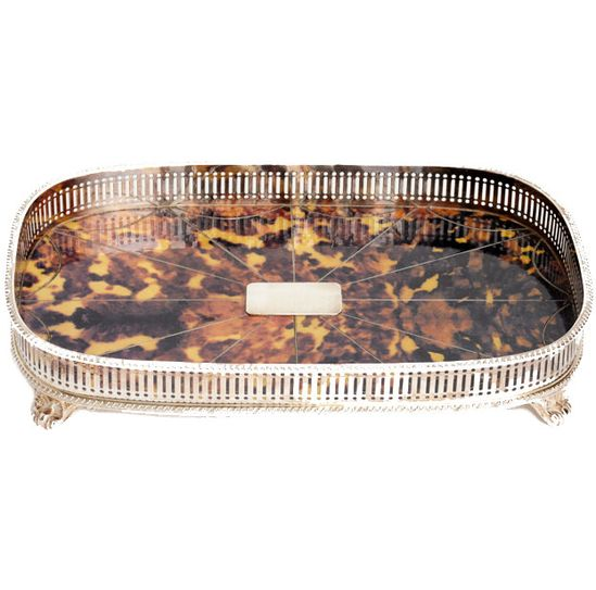 faux tortoiseshell and silver plate bar tray.