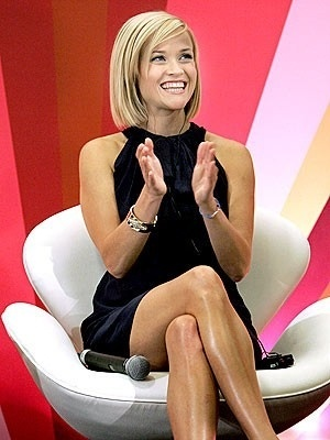 Short Bob - Reese Witherspoon, short bob with long side swept bangs