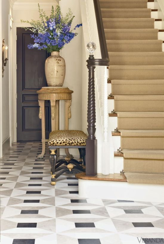 English-inspired Texas townhouse designed by J. Randall Powers. #leopard cheetah bench