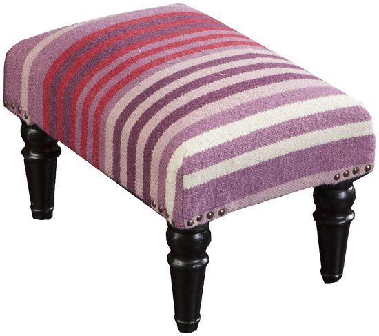 Chic footstool in purple and fuchsia stripes from the accent furniture line by Surya. (FL-1006)