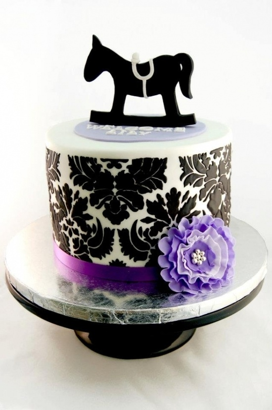 Rocking Horse Damask Baby Shower Cake