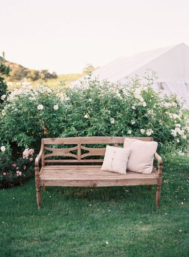 brown beige Bench pillows rustic furniture.    Steve Steinhardt barn ombre Real Wedding  0253 decor fu