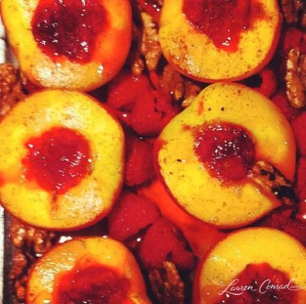 baked peaches with brown sugar, raspberries, and walnuts #summer