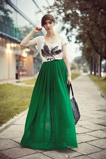 Love the long skirt! Beautiful colour