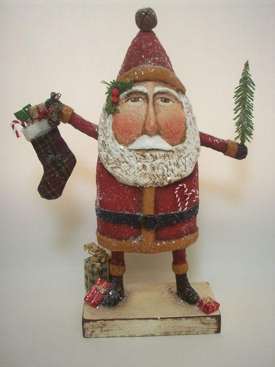 Primitive Paper Mache Folk Art Santa with by papiermoonprimitives, $200.00