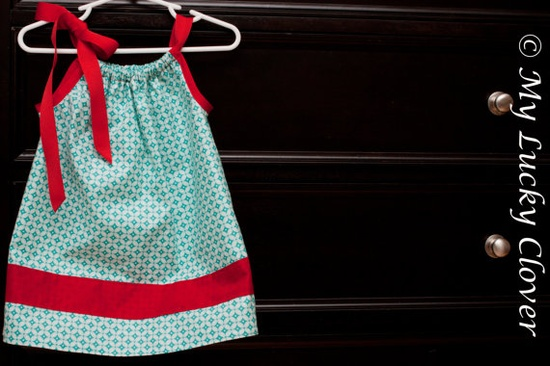 Pillowcase Dress Teal Read White Circles by MyLuckyCloverStore, $23.00