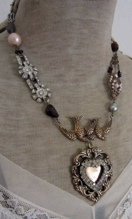 lovebirds vintage assemblage necklace by TheFrenchCircus