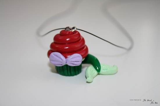 Ariel Cupcake Pendant. $9.00, via Etsy.