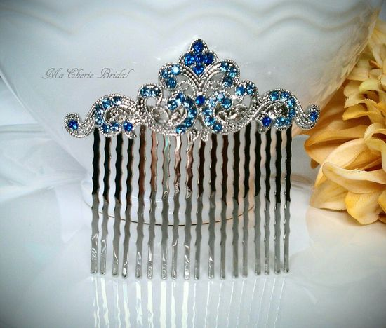Bridal Hair Comb Blue Hair Comb Rhinestone Hair Comb Wedding Hair