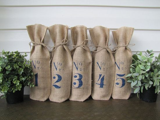 Weddings Burlap Wine Bottle Table Numbers